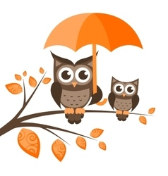 Two owls on the tree with umbrella vector image