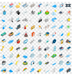 100 energy icons set isometric 3d style vector