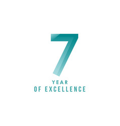 7 year excellence template design vector