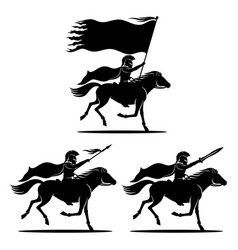 a set knights on horses vector image