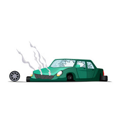 Accident on road crash vehicle vector