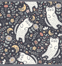 adorable seamless pattern with a cute cat vector image
