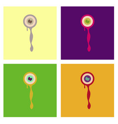 assembly flat icons halloween zombie eyes vector image