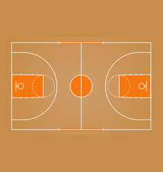 Basketball court floor with wooden color vector
