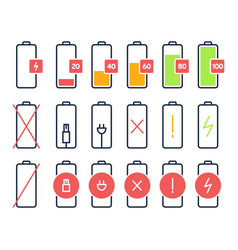 battery charging icons charge power level vector image