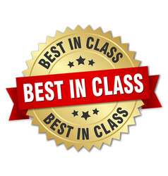Best in class round isolated gold badge vector