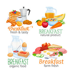 Breakfast banners template vector