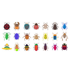 Bugs icon set cartoon style vector