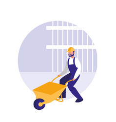 builder man with construction cart avatar vector image