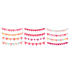 bunting hearts love valentines heart shapes vector image
