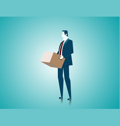 businessman holding a box stand in an empty vector image