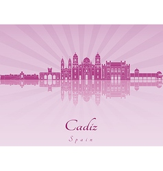 Cadiz skyline in purple radiant orchid vector image