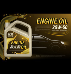 Car engine oil advertisement vector