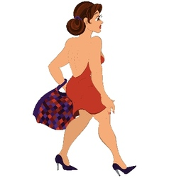 Cartoon girl with plaid bag walking vector