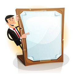 Cartoon white businessman holding a paperboard vector