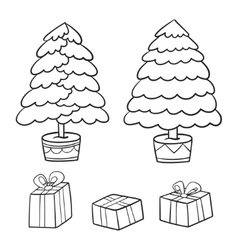 Christmas tree and presents collection vector