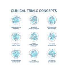 Clinical trials concept icons set vector