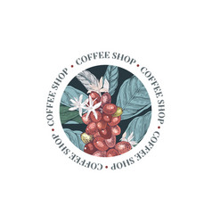 coffee shop round emblem with colorful coffee vector image