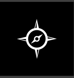 compass icon on black background black flat style vector image