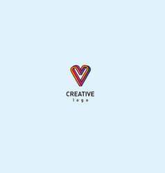 contour modern logo of the heart vector image