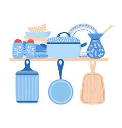 crockery ceramic cookware blue porcelain dishes vector image