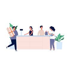 Customer service concept shoppers with products vector