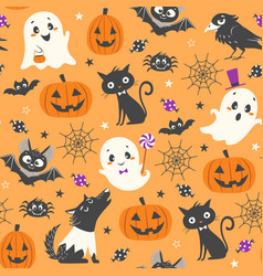 cute halloween pattern vector image