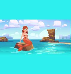 cute mermaid sitting on rock in sea character vector image