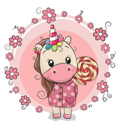 cute unicorn in coat and with lollipop vector image