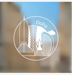 doha corniche - the symbol of qatar modern linear vector image