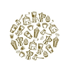 doodle coffee images in circle vector image