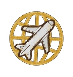 Drawing airplane global travel business vacation vector