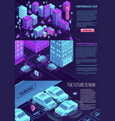 driverless car banner set isometric style vector image