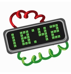 Electronic retro clock with led dial vector