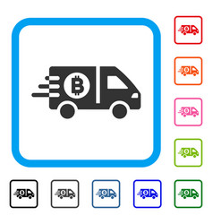 fast bitcoin delivery car framed icon vector image