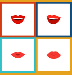 Flat icon lips set of smile pomade lips and vector