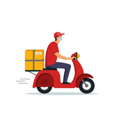 Food delivery courier service on motorcycle fast vector