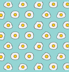 fried egg pattern with blue background vector image