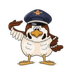 Funny cartoon sparrow in service cap with pilot vector