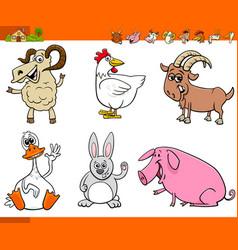 funny farm animal cartoon characters set vector image