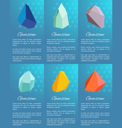 gemstone set of posters on vector image