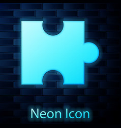 Glowing neon piece puzzle icon isolated on vector