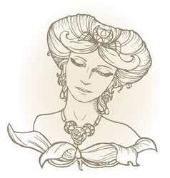 Graphic sketch of girl head in vintage style vector image