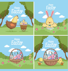 happy easter cards collection vector image