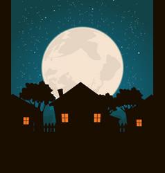 Homes in moonlight vector