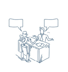 human robot talking chat box bubble communication vector image