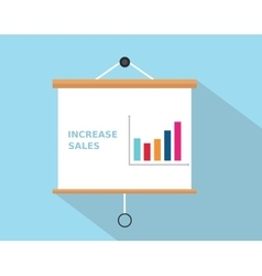 Increase sales with graph increasing written on vector
