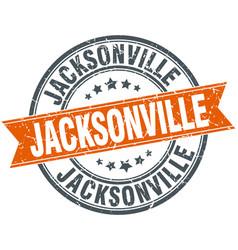 Jacksonville red round grunge vintage ribbon stamp vector