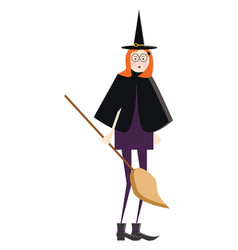 lady in witch costume or color vector image