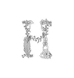 letter h floral ornament vector image